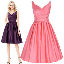 Womens Sleeveless V-Neck Satin Ball Evening Cocktail Prom Party Sexy Swing Dress