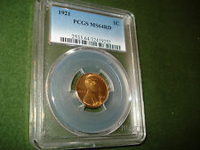1921 LINCOLN CENT (PENNY) GRADED MS-64 RED by PCGS , NICE COIN