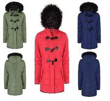 Ladies Winter Fur Hooded Trench Parka Parker Plus Size Coat Jacket Sizes 6-20