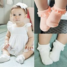 Child Infant Toddler Girl Kid Socks Soft Dressy Lace Ruffle Trim antiskid Socks