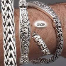 CELTIC HEART BRAIDED TRIBAL WOVEN WEAVE MENS BRACELET 925 STERLING SOLID SILVER