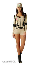 Womens Ghostbuster - Shorts Fancy Dress Costume Ladies Tan TV and Film Costumes