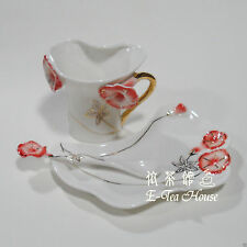 Enamel Porcelain - Morning Glory Flower Tea / Coffee Cup with Saucer & Spoon