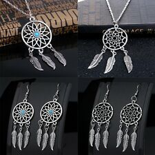 Women Necklace Dream Catcher Choker Pendant Chain Necklace + Earrings Jewelry