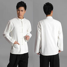 New Traditional Chinese style Jackie Chan White Kung Fu Suit Tai Chi Shirt