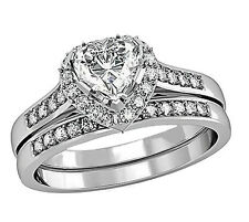 Womens Heart Cut Engagement Stainless Steel Wedding Rings Bridal Sets Size 5 -10