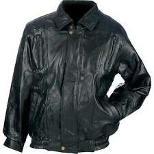 MENS BOMBER STYLE BLACK LAMBSKIN LEATHER JACKET COAT
