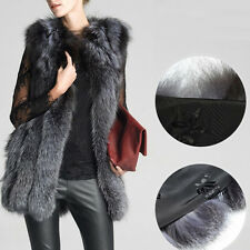 New Women Cardigan Coat Slim Warm Faux Fur Vest Gilet Outerwear Jacket Coat Gray