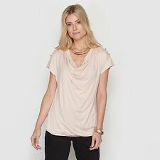 La Redoute Womens Cowl Neck Top With Lace Detailing