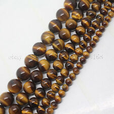 "Natural Tiger's Eye Gemstone Round Loose Beads 15.5"" 4mm 6mm 8mm 10mm 12mm 14mm"
