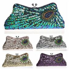 Hot Vintage Peacock Sequins Beaded Prom Party Handbag Clutch  Evening Purse Bag