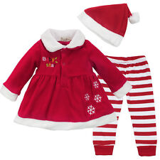 Newborn Baby Girls Christmas Santa Claus Dress+Pants+Hat Outfit Costume Clothes