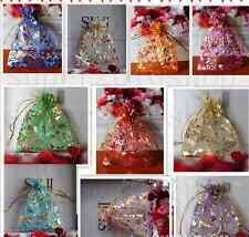 50/100X Organza Gift Bag Wedding Christmas Party Bronzing Packaging Pouches Xmas