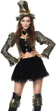 Ladies Sexy Mad Hatter Alice in Wonderland Book Fancy Dress Costume Outfit 6-16