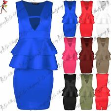 Ladies Flare V Neck Sleeveless Bodycon Peplum Ladies Mini Frill Dress Plus Sizes