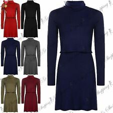 Ladies Dress Top Womens High Neck Layer Long Sleeve Stretchy 2 in 1 Skater Dress