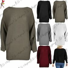 Womens Ladies Oversized Cuffed Batwing Sleeve Ribbed Knit Baggy Hem Jumper Top