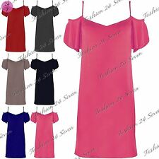 Womens Ladies Off The Shoulder Baggy Loose Slash Neck Strappy Swing Shift Dress