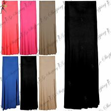 Ladies Womens High Waist Bodycon Front Split Full Ankle Length Long Maxi Skirt