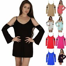 Womens Ladies Cold Open Drop Shoulder Tunic Dress Bell Sleeve Lace Strappy Top