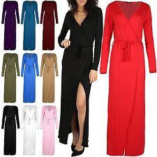 Womens Dinner Evening Party Split Maxi Long Dress Wrap Over Dress Plus Size 8-22