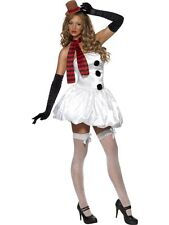 Sexy Snowman Fancy Dress Costume Ladies White Christmas Costumes