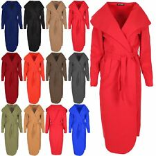 Ladies Long Sleeve Womens Belted Waterfall Ladies Cape Trench Knitted Cardigan