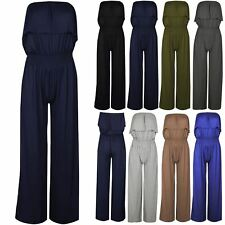 Ladies All in One Jumpsuit Womens Frill Ruffle Boobtube Short Playsuit Size 8-14