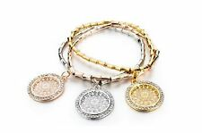 European Style Elastic Bracelet Bangle Charm with Silver Gold Plated Charm 18cm