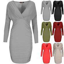 Ladies Womens V Neck Wrap Over Side Ruched Stretchy Gathered Bodycon Mini Dress