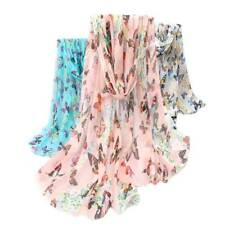 New Womens Ladies Lovely Soft Butterfly Floral Pattern Chiffon Scarf Great Gift