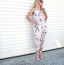 NEW LADIES MAXI PINK FLORAL PRINT DRESS WITH SPLIT SIZE 8-10-12-14-16 ON SALE