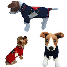 Dog Clothes ARGYLE Red Blue Sweater Coat for Dogs Puppy Hand Knit Dallas Dogs
