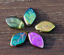Luster Iris Spring Mix Multocolor Glass Leaf Beads Czech Leaf Beads Leaf Bead Ex