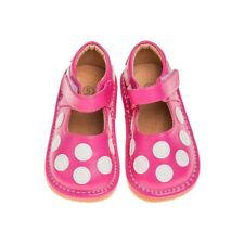 Girl's Hot Pink with White Polka Dots Leather Toddler Squeaky Shoes Sizes 1 to 7