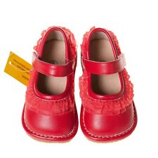 Girl's Red Ruffle Leather Squeaky Shoes