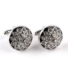 BLACK ENAMEL RHINESTONE CUFFLINKS - QUALITY - LUXURY - MENS GIFT IDEA