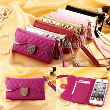 Fashion Luxury Deluxe Bling Grid Handy Wallet PU Leather Case Cover Wrist Strap