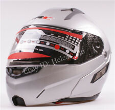 Hot Silver Modular Motorcycle Full Open Face Sun Shield  Helmet Visors Flip Up
