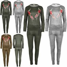 Womens Sweatshirt Fleece Loungewear Ladies Floral Embroidery Knitted Tracksuit