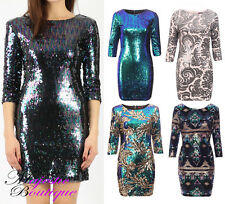 Womens 3/4 Sleeve Aztec Multi-Coloured Short Mini Sequin Embellished Party Dress