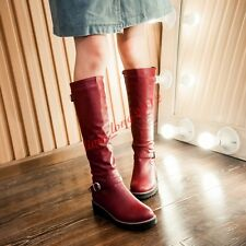 Gothic Winter Knee High Riding Boots Womens Buckle Chunky Heels Shoes Plus Size