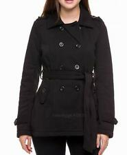 Black Peacoat Double Breasted 8 Button w Belt Pea Coat Jacket NEW Size Small