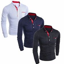 Fashion Mens Luxury Casual Slim Fit Stylish Formal Dress Shirts Long Sleeve Tops