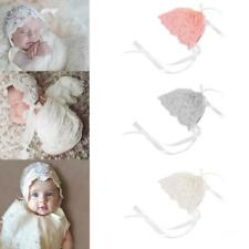 Lace & Tucks Newborn Baby Girl Bonnet Hat Christening Baptism PHOTO PROP
