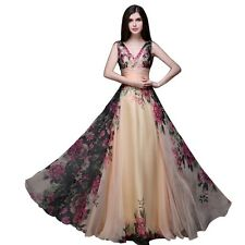 Summer Vintage Floral High Waist V-neck Long Dress Robe Longue Femme  Dress