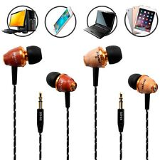 Super Bass Wooden In Ear Headphones Earphone Earbuds Headset For Cell Phone MP3