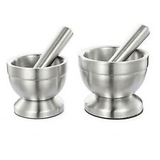 Stainless Steel Mortar and Pestle Set Kitchen Garlic Pugging Pot Pharmacy Bowl #