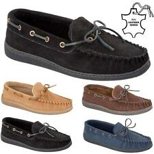 MENS MOCCASINS SLIPPERS LOAFERS REAL SUEDE LEATHER SHEEPSKIN FUR LINED SHOES SIZ