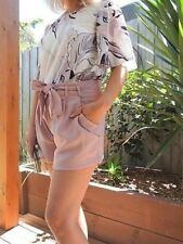 BNWT Ladies Womens pink shorts with tie up belt and pockets by White Closet